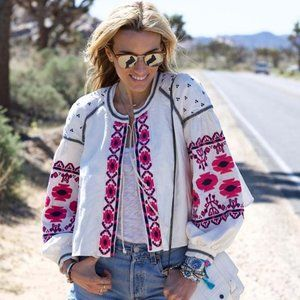 New Boho Embroidered White Top Blouse Jacket